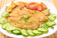 Fried fish fillet with vegetables Stock Photo