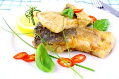 Fried fish fillets with lemon, chili peppers slice on white plate. Close up Royalty Free Stock Photography