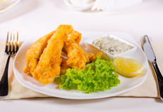 Fried fish fillets with savory tartare sauce Stock Images