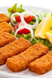 Fried fish fingers Royalty Free Stock Photography