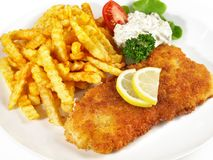 Fried Fish with French Fries stock images