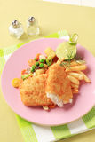 Fried fish and French fries Royalty Free Stock Images