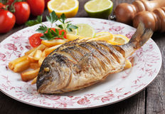 Fried fish with french fries Royalty Free Stock Image