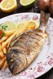 Fried fish with french fries Stock Photo