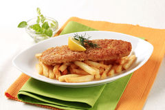Fried fish and French fries Royalty Free Stock Photos