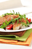 Fried fish and fresh salad Royalty Free Stock Photos