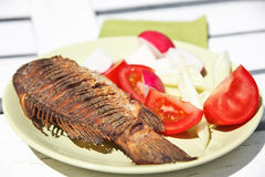 Fried fish with fresh salad Stock Photos