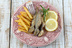 Fried fish with fried potatoes Royalty Free Stock Photos