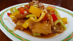 Fried fish. fried sweet peppers with oyster sauce. Seafood fish sauce Royalty Free Stock Images