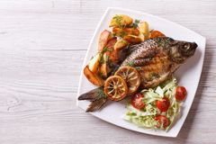 Fried fish with fries and salad horizontal top view Stock Images