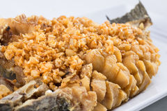 Fried fish with garlic on top Royalty Free Stock Image