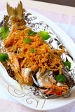 Fried Fish. With ginger and garlic Royalty Free Stock Photo