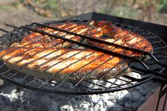 Fried fish on the grill Stock Photo