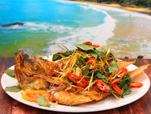 Fried fish herbal. Thai style fried fish with herbs on a wood table on the beach Royalty Free Stock Images