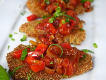 Fried fish herring with tomato sauce Royalty Free Stock Images
