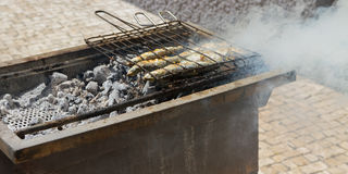 Fried fish on a hot coal. Fried fish on a hot coal on the banks of the river Dora in Portugal Stock Images