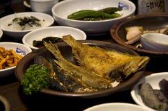 Fried fish and kimchi Korean food Royalty Free Stock Photography