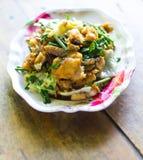 Fried fish leaf lettuce, celery. Stock Image