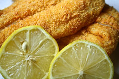 Fried Fish and Lemon. A close up of crispy fried fish garnished with two slices of lemon Royalty Free Stock Image