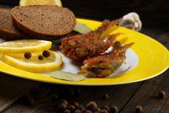 Fried fish with lemon Royalty Free Stock Photo