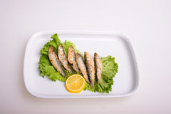 Fried fish. Lemon and lettuce Royalty Free Stock Images
