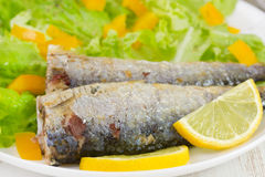 Fried fish with lemon Stock Image