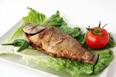 Fried fish with lettuce Stock Images