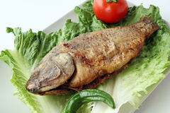 Fried fish with lettuce stock photo