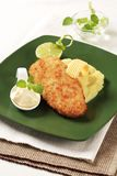 Fried fish and mashed potato Royalty Free Stock Photography