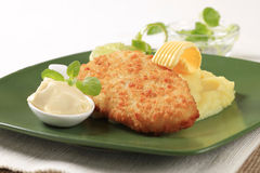 Fried fish and mashed potato Stock Image