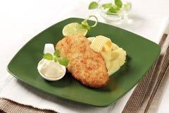 Fried fish and mashed potato Royalty Free Stock Image
