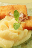 Fried fish and mashed potato Stock Images