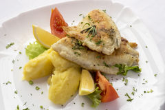 Fried fish with mashed potatoes. Royalty Free Stock Images