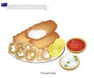Fried Fish med lökcirkeln, populär maträtt av Nya Zeeland royaltyfri illustrationer