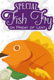 Fried Fish Menu for Friday at Lent Season, Vector Illustration. Poster with traditional fried fish and fasting bread for Friday at Lent celebration vector illustration