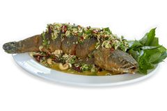 Fried fish with mixed herb and sweet sauce in the white plate stock photos