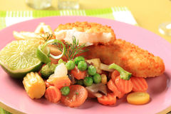 Fried fish and mixed vegetables Royalty Free Stock Photography