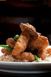 Fried fish over rice Stock Image