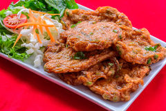 Fried fish-paste balls. A kind of delicious thai food , made from fish Royalty Free Stock Photography
