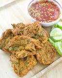 Fried fish patty. Close up fried fish patty royalty free stock photo