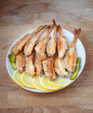 Fried fish perch. Top view Stock Photos