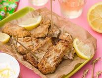 Fried fish Pescado frito with lemon mayonnaise Stock Photos
