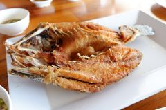 Fried fish on plate for lunch Stock Photo