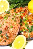 Fried fish in the plate. See my other works in portfolio Stock Photos