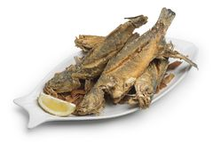 Fried Fish plate on white background, Clipping Path included royalty free stock photo