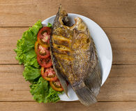 Fried fish on plate Stock Photography