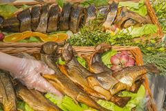 Fried fish on a platter Stock Photography