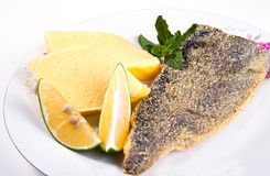 Fried fish with polenta Stock Image