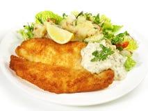 Fried Fish with Potato Salad stock photos