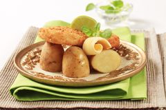 Fried fish and potatoes Stock Image